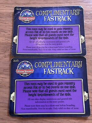 Alton Towers Priority Pass Entrance Fast Track x2 2019 Versions