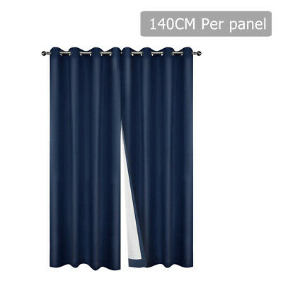 NEW 2x Art Queen Eyelet Blockout 3 Layer Foam Coating Curtains 140cm - Navy