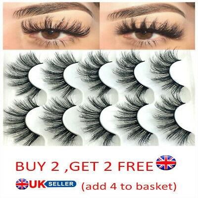 SKONHED 5 Pair 3D Mink Hair False Eyelashes Thick Cross Long Lashes Wispy Fluffy