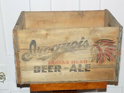 Iroquois Indian Head Beer-Ale Wooden Bottle Crate
