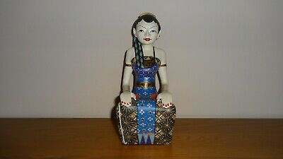 Lovely Large Traditional Indonesian Long Haired Female Sitting Statue Ornament!