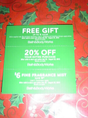 Bath & And Body Works Coupons  August 25- FRE GIFT, BODY MIST, 20% OFF