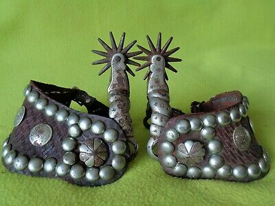 August BUERMANN Early Antique DOM PEDRO Spurs & Wide Spotted Buckaroo Straps~NR