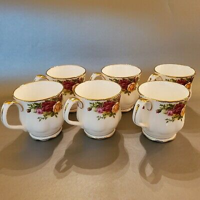 6 Royal Albert Old Country Roses Set Scalloped Mugs Coffee Tea Hot Chocolate