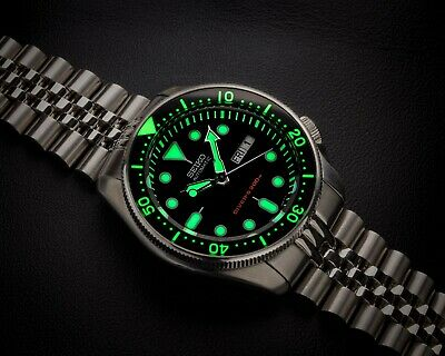 Skx 007/009/173/175 Black Brushed Stainless Steel Lumed Chapter Ring