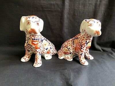 antique pair of japanese imari porcelain dogs. Signed with 4 characters