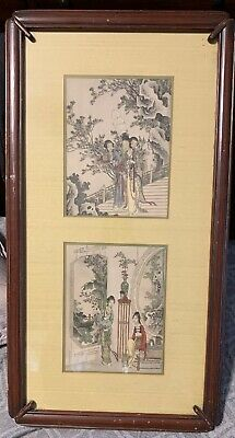 2 Antique Asian Hand-Colored Etchings In Custom Frame, Artistic Picture Publish.