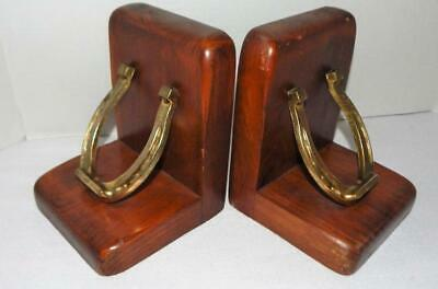 Vintage Pair of Cornwall Wood Bookends With Metal Horseshoes Made in Maine USA