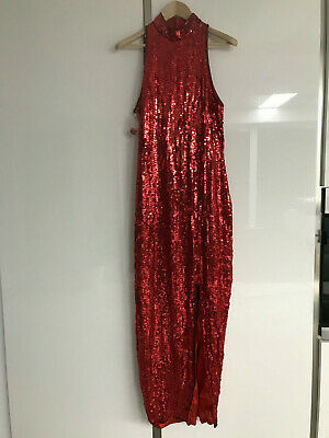 Sexy Red sequin dress Ball Gown pin up fetish high heels US14 vintage TV CD