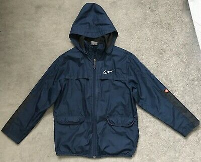 ~ NIKE ~ Boys / Girls Navy Hooded Wind Jacket w Removable Hood~  S ~ Youth 10-12