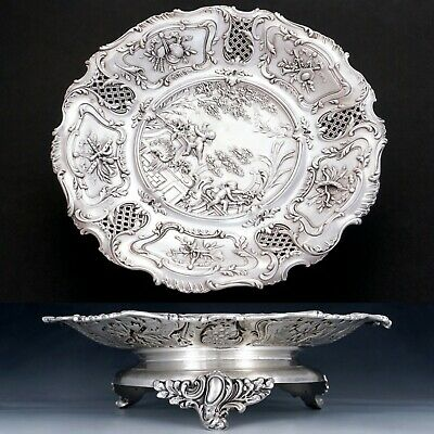 Antique French Sterling Silver Footed Compote Repousse Cherubs & Pierced Lattice