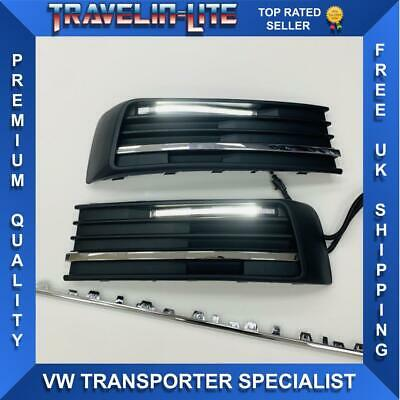 VW T6 DRL Kit With Chrome Styling Trim 3pcs For Lower Grilles Transporter 2015