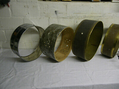 6 alte Snare-Kessel, Messing, Holz, Metall. Vintage