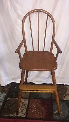 Antique Pine Bentwood Wooden High Chair / Youth Chair 38""