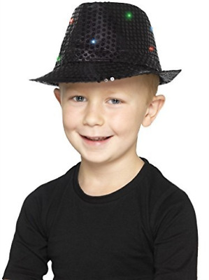 Light Up Sequin Trilby Hat, Black, with Multi-Function LED Lights COST-ACC NEW