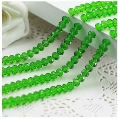 Wholesale 4*6 mm 95 pc faceted green AB crystal loose beads DIY jewelry