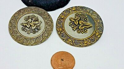 2 Nice LARGE Antique~ Vtg Victorian Metal Picture BUTTONS FLOWERS 36/40mm