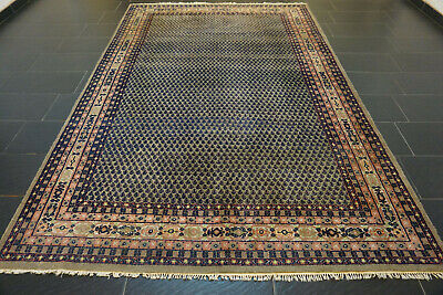 Alter Handgeknüpfter Perser Orient Teppich Sarough MIR Blau Old Carpet 205x305cm