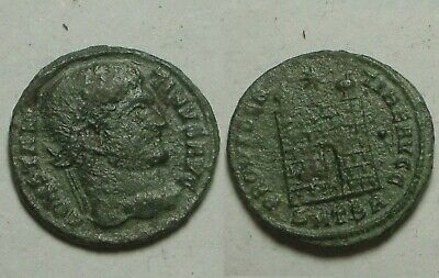 Constantine I/Rare ancient Roman coin Camp-gate turrets Star 324AD Thessalonica
