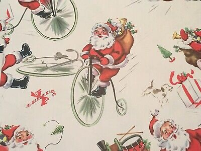 VTG CHRISTMAS WRAPPING PAPER GIFT WRAP 1940s SANTA ON ANTIQUE BICYCLE PUPPY  NOS