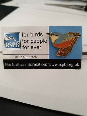 RSPB Pin Badge Nuthatch No #22 Blue/White For Birds For People For Ever Card