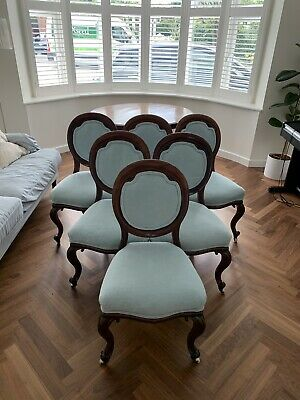 Set Of 6 Antique Victorian Balloon Back Chairs. Recently Re-upholstered.
