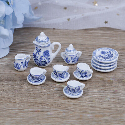 15Pcs 1:12 Dollhouse miniature blue flower tableware porcelain coffee tea R EM&g