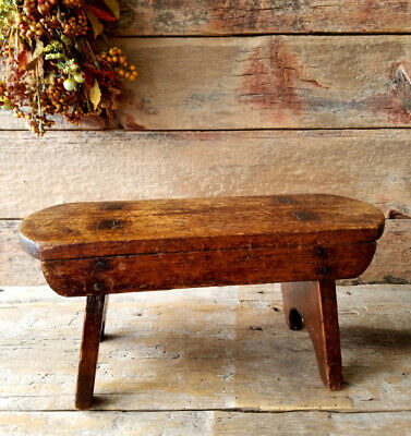 Antique MORTISED Seat FOOTSTOOL Very RUSTIC Wooden PRIMITIVE with SQUARE NAILS