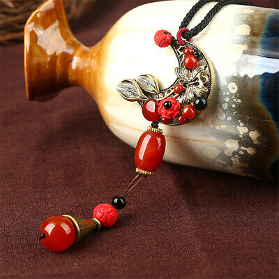 Antique Red Agate Handmade Weave Necklace Ethnic Chain Jewelry Cute Classic Gift