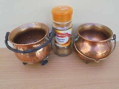 Vintage French pair of small tiny copper cauldrons planters