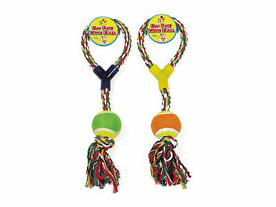 Rope Tug Toy with Ball Dog Puppy Toy Fetch Throw Chew