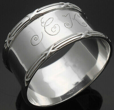 INITIALS 'CK' 26g STERLING SILVER NAPKIN RING - CHESTER 1903 - ANTIQUE