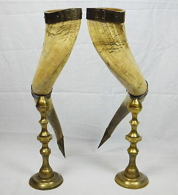 Pair Large Vintage Gilt Brass Horn Mantle Vases Hunting Drinking Cups 17.5""