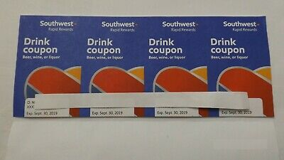 Qty: 4 Southwest Airlines Coupons Drink Voucher Exp: 9/30/2019 Fast Shipping