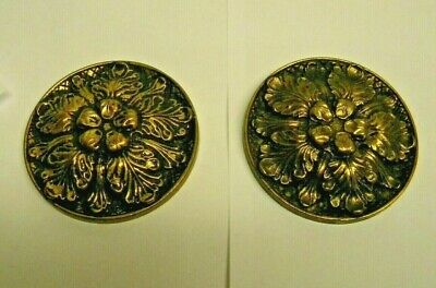 "Vintage Set of 2 Antique Brass Curtain Drape Tie Backs Floral 3 1/4""D"