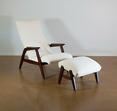 Mid Century Lounge Chair and Ottoman. JIO Mobler. 1960s. Restored. Free Shipping