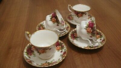 Vintage Royal Albert Old Country Roses 4 Tea Cups and Saucers Original Backstamp