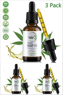 3 Pack Organic mint Hemp Oil Extract Pain Relief Reduce Stress Joint 2500mg