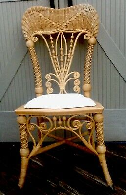 Antique Victorian Heywood Wakefield Fancy Natural Wicker Chair