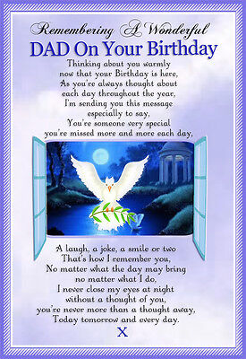 Dad Birthday Memorial Graveside keepsake Card And Free Ground stake