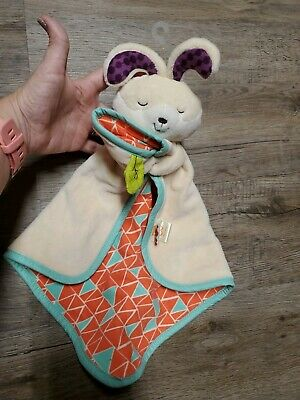 B.Toys Battat Snugglies Bunny Rabbit Teal Coral  Security Blanket Baby Lovey EUC