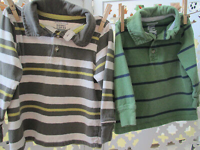 Old Navy Toddler Boy Rugby Polo Shirt, 18-24 Months, Lot of 2, Green Stripe Top