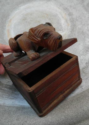 ANTIQUE ANRI CARVED WOOD MECHANICAL TERRIER DOG TOBACCO BOX LATE 19th CENTURY