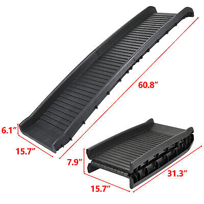 High Traction Dog Pet Ramp LIGHT WEIGHT Foldable For Car SUV Truck W/Rubber Feet