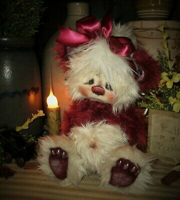 "Patti's Ratties 10"" Bear Cub Cherry Red Panda OOAK Doll Rabbit Artist Sikes"
