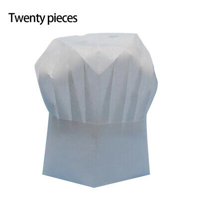 20 Pcs/Pack Disposable Chef Hat Hotel Restaurant Non-woven Fabric Round Cook Hat