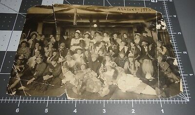 1913 HALLOWEEN PARTY Costume MASK Creepy Scary Group Man Woman Vintage PHOTO
