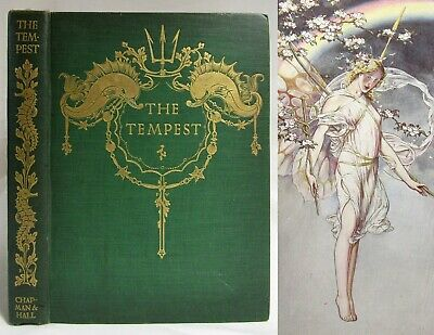 Antique 1908 THE TEMPEST Woodroffe Illustrated 20 TIPPED IN COLOR PLATES Fairies