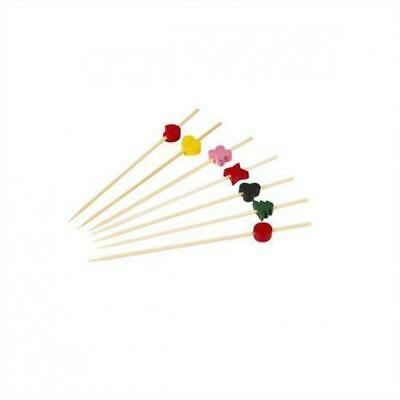 100 x Disposable Bamboo Skewer with Assorted Designs 120mm Catering Functions