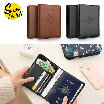 RFID Blocking Leather Travel Passport ID Card Wallet Holder Cover Purse Case AU